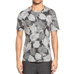 VINCE Heather Palm Leaf Print 100% Pima Cotton Tee